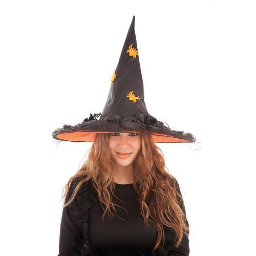 Chapeau de sorcière de fleurs Orange