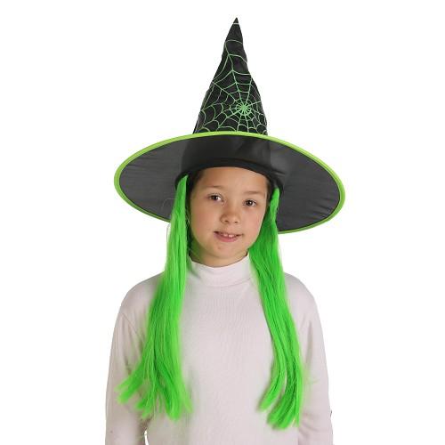 Enfant de sorcière chapeau avec cheveux