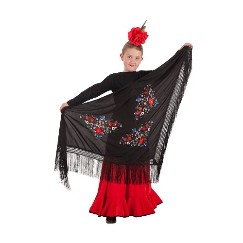 Châle de Séville multi couleur noire