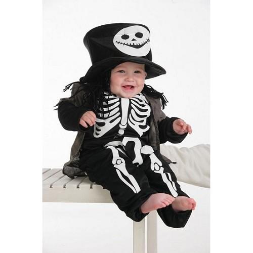 Squelette de bébé costume avec chapeau haut de forme (0 à 12 meses)