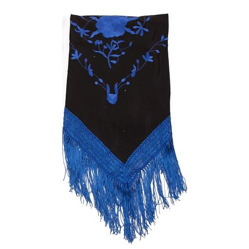 Châle brodé Malaga bleu