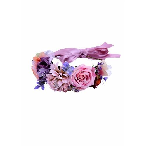 Diadema Flores Secas Tono Rosaceo