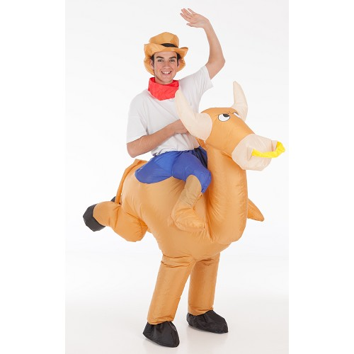 Bull avec Cowboy gonflable Costume