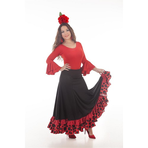Falda Sevillana Negro/Rojo Baile