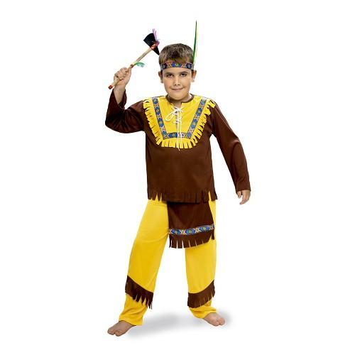 Disfraz Indio Marron Y Amarillo Infantil