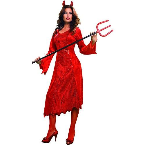 Disfraz Diablesa Traje Largo Rojo Adulto