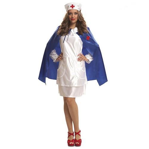 Disfraz Enfermera Con Capa Azul Adulto