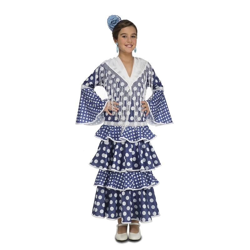 Disfraz Flamenca Alvero Azul Niña