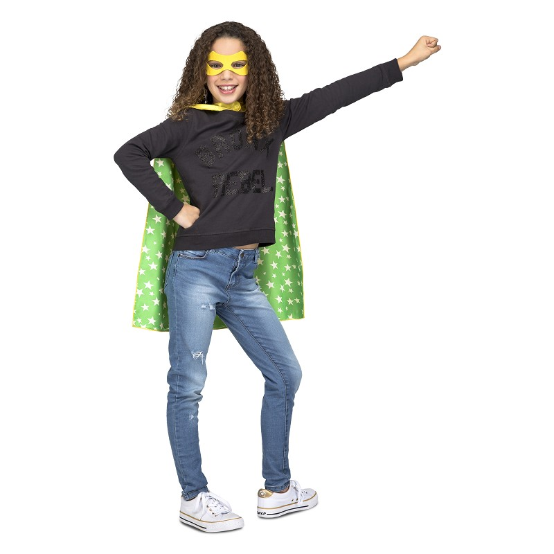 Capa Super Heroe Amarilla Stars Infantil
