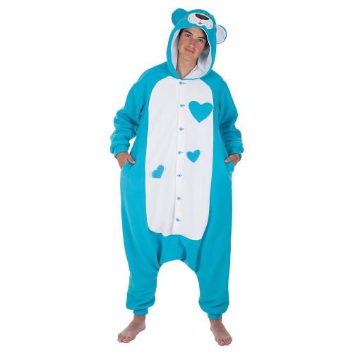 Costume adulte drôle Teddy bleu t-l
