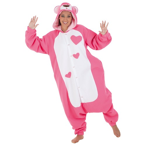 Costume adulte peluche rose drôle t-l